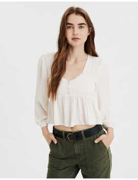 Ae Smocked Long Sleeve Peplum Blouse by American Eagle Outfitters