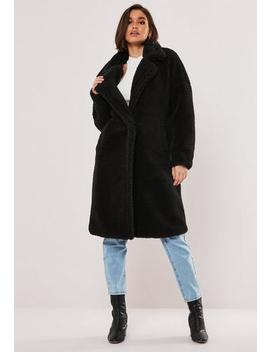 Petite Black Oversized Teddy Coat by Missguided