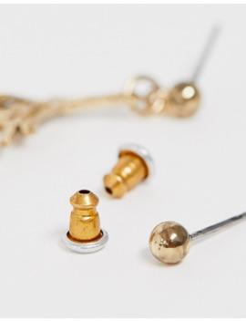 Asos Design – Einzelner Ohrring Mit Feder Anhänger In Altgold Farbe by Asos