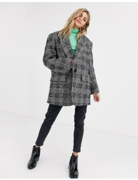 Asos Design   Manteau à Carreaux Prince De Galles Avec Col Grand Père by Asos Design