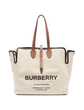 Logo Print Canvas Tote Bag by Burberry