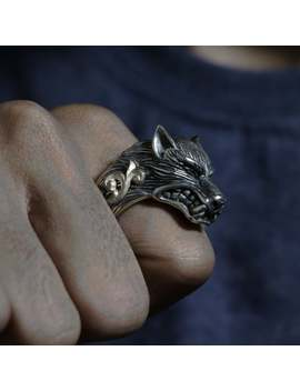 Wolf Odin Ring For Men Made Of Sterling Silver 925 Viking Style by Etsy