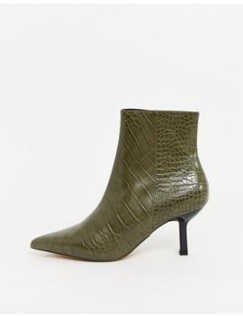 Topshop – Stiefel In Khaki Mit Absatz Und Spitzer Zehenpartie by Asos