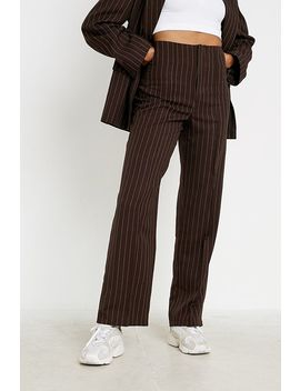 Uo Pinstripe High Rise Puddle Trousers by Urban Outfitters