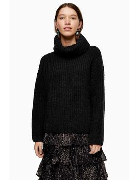 Grey Knitted Chunky Roll Neck Jumper by Topshop