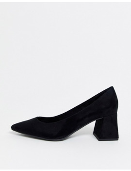 New Look Suedette Low Block Heeled Shoes In Black by New Look