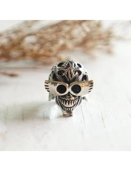 Monster And Glasses Skull Ring For Men Made Of Sterling Silver 925 Biker Style by Etsy