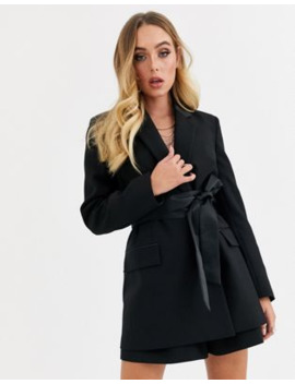 Asos Design Wrap Belted Tux Suit Blazer by Asos Design