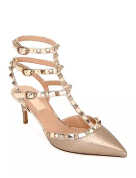 Valentino Garavani Rockstud Metallic Pointed Ankle Pumps by Valentino Garavani
