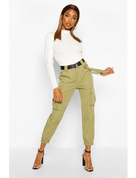 D Ring Belted Twill Cargo Trousers by Boohoo