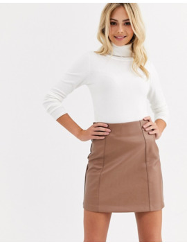 New Look Faux Leather Mini Skirt In Camel by New Look