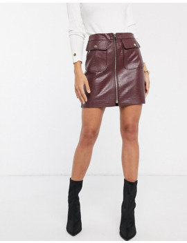 River Island Faux Leather Mini Skirt With Zip Front In Oxblood by River Island