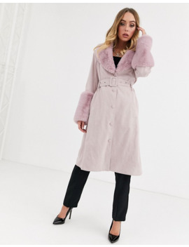 Missguided Suedette Belted Coat With Faux Fur Trims In Pink by Missguided's