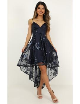 Fair Shake Dress In Navy Sequin by Showpo Fashion