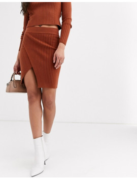 Asos Design Co Ord Rib Mini Skirt With Wrap Detail by Asos Design