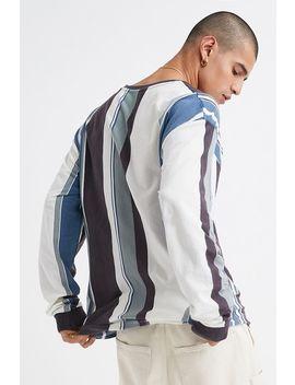 Vertikal Gestreiftes, Langärmliges Dad T Shirt In Blaugrün Von Urban Outfitters by Urban Outfitters Shoppen
