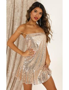 See The Way Slip Dress In Gold Sequin by Showpo Fashion