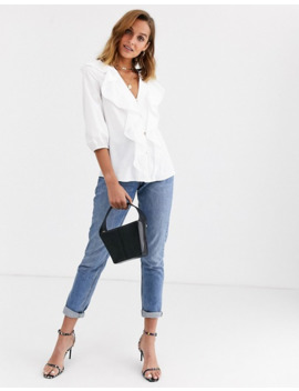River Island Frilled Blouse In White by River Island