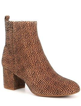 Jaydennn Cheetah Print Suede Block Heel Booties by Gianni Bini
