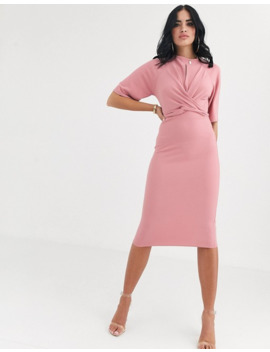 Boohoo Wiggle Midi Dress With Tie Waist In Pink by Boohoo