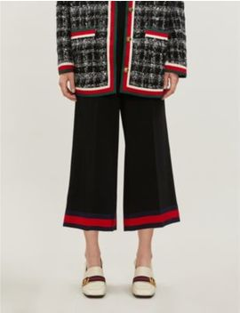 Web Stripe Wide Leg Cropped Stretch Cady Trousers by Gucci