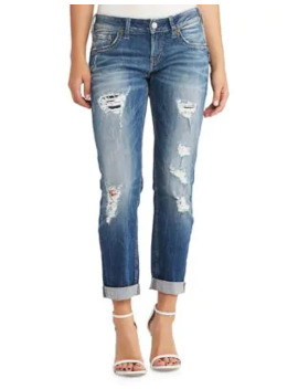 Sam Mid Rise Ripped Boyfriend Jeans by Silver Jeans