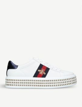 New Ace Crystal Bee Embroidered Leather Trainers by Gucci