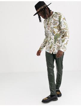 Asos Design Regular Floral Mandarin Shirt In Ecru by Asos Design