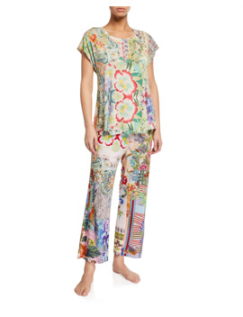 Dreamer Floral Print Cap Sleeve Crop Pajama Set by Johnny Was