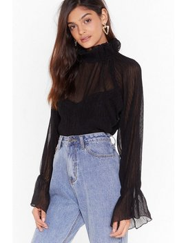 High Neck Crinkle Blouse by Nasty Gal