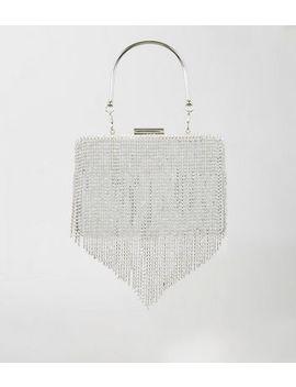 Silver Diamanté Tassel Box Clutch Bag by New Look