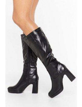 Pu Knee High Platform Boot by Nasty Gal