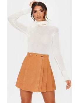 Camel Cord Skater Skirt  by Prettylittlething