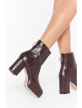 Faux Croc Low Platform Square Toe Ankle by Nasty Gal