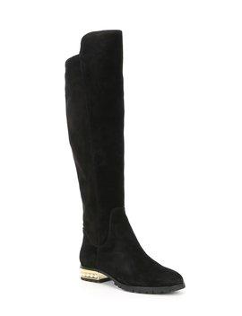 Sutton Tall Suede Block Heel Boots by Karl Lagerfeld Paris