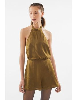 Uo Satin Backless Halter Romper by Urban Outfitters