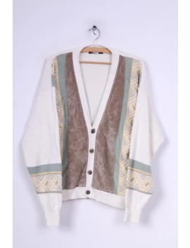 American Company Mens S 48 Button Front Cardigan Jumper Sweater Cream Vintage 5780 by Unbranded  ×