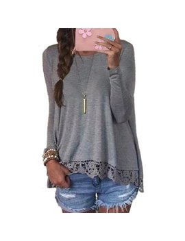 Womens Long Sleeve Lace Patchwork Casual Blousess Tops by Zanzea