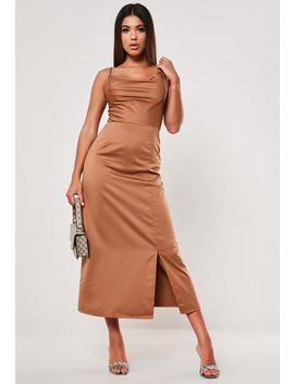 Mocha Cowl Neck Satin Midaxi Dress by Missguided