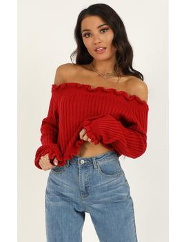 Caught You Staring Knit Jumper In Red by Showpo Fashion
