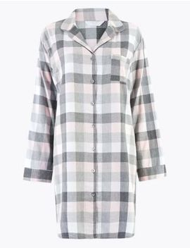 Cotton Rich Checked Nightdress by Marks & Spencer