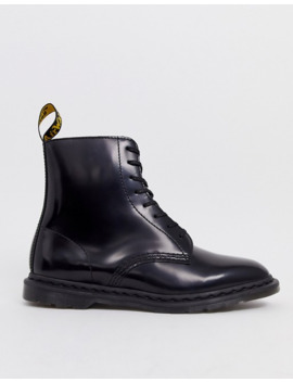 Dr Martens Winchester 8 Eye Boots In Black Polished Smooth by Dr Martens