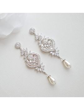 Crystal Bridal Earrings, Long Drop Earrings, Statement Bridal Earrings, Wedding Jewelry, Swarovski Pearls, Chandelier Wedding Earrings, Rosa by Etsy