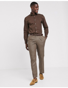 Moss London Extra Slim Shirt With Stretch In Brown by Moss London