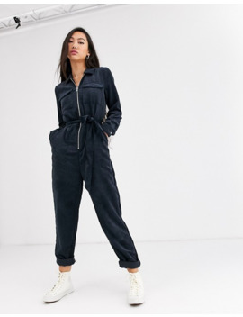 Only Cord Jumpsuit With Belted Waist In Black by Only's