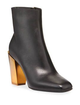 Teti Leather Booties With Golden Heel by Salvatore Ferragamo