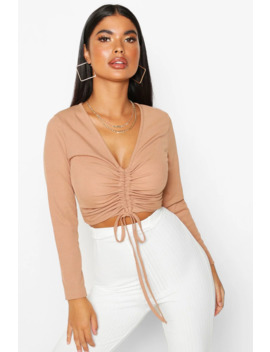 Petite Long Sleeve Ribbed Ruched Detail Top by Boohoo