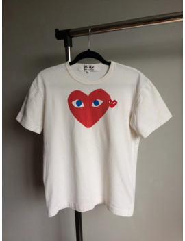 Cdg Comme Des Garcons Play T Shirt Double Red Heart Blue Eyes L Size by Comme Des Garcons  ×  Comme Des Garcons Play  ×