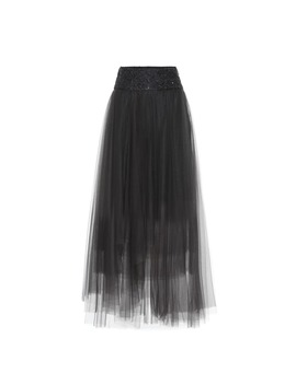 Embellished Tulle Maxi Skirt by Brunello Cucinelli