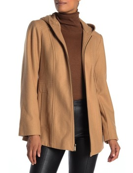 Hooded Zip Front Wool Blend Coat by London Fog